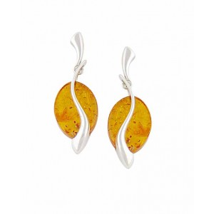 Serenity Disc Drop Amber Earrings