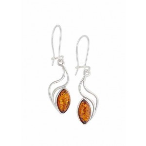 Wave Drop Amber Earrings - Silver Amber Jewellery