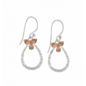 Rose Gold Flower and Silver Teardrop Earrings