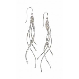 Curve Strand Long Silver Earrings