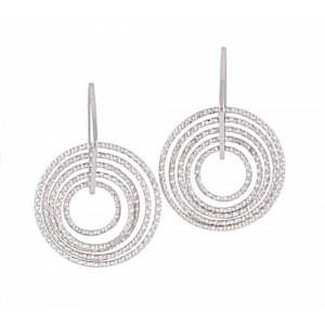Diamond Cut Circle Silver Earrings