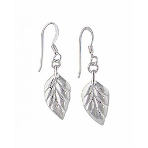 Leaf Silver Drop Earrings