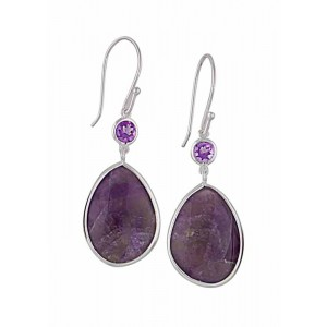Silver Drop Amethyst Earrings   Amethyst Jewellery
