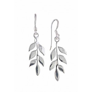 Six Leaf Silver Drop Earrings