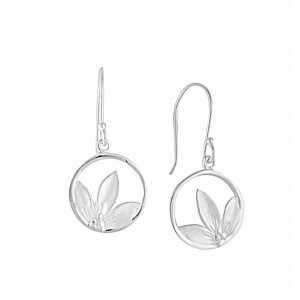 Circle and Flower Silver Earrings