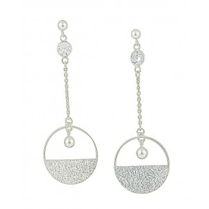 Circle Long Silver Drop Earrings