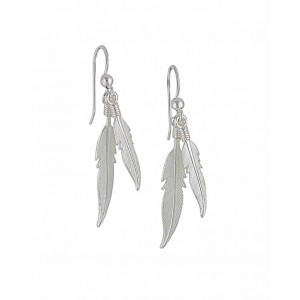 Twin Silver Feather Earrings
