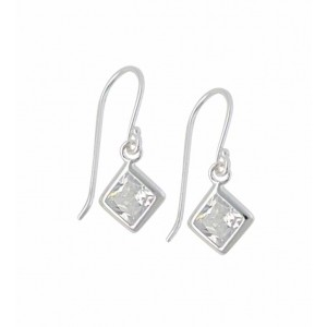 Square Clear Cubic Zirconia Silver Earrings