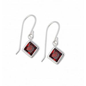 Square Garnet Cubic Zirconia Silver Earrings