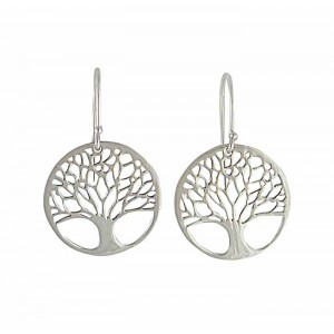 Tree of Life Silver Drop Earrings