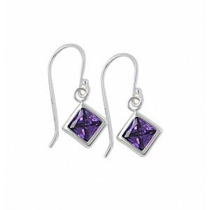 Square Amethyst Cubic Zirconia Silver Earrings