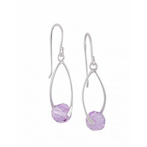 Violet Swarovski Crystal Silver Drop Earrings