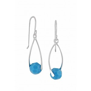 Turquoise Swarovski Crystal Silver Drop Earrings