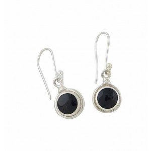 Black Onyx Round Disc Drop Silver Earrings
