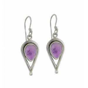 Amethyst and Open Water Drop Silver Earrings