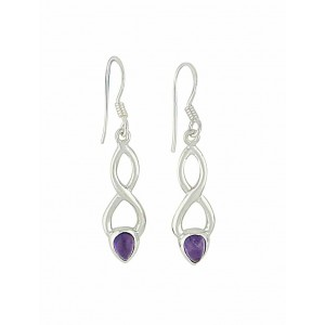 Elongated Crossover Amethyst Drop Earrings