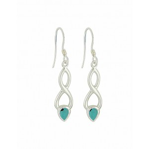 Turquoise and Elongated Crossover Drop Earrings