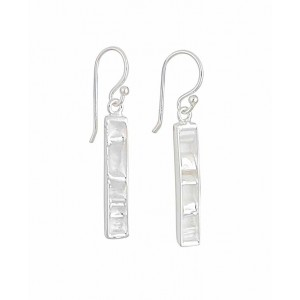 Rectangle Bar Design Silver Drop Earrings