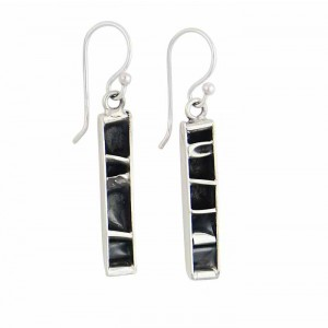 Oxidised Rectangle Bar Design Drop Earrings