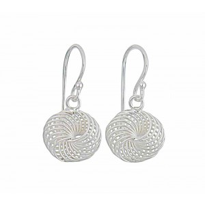Intricate Circular Bar Silver Small Drop Earrings