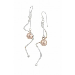 Silver and Rose Gold Ball Swirl Long Drop Earrings