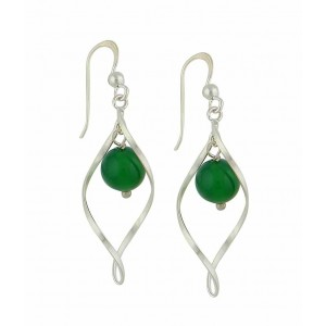Silver Water Drop Green Agate Dangle Earrings