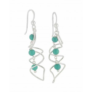 Swirl Bar Turquoise Drop Earrings