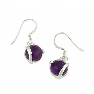 Amethyst Ball Small Drop Earrings