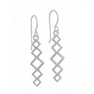 Cut Out Diamond Silver Drop Earrings