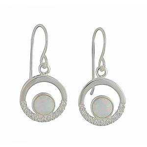 Open Circle Cubic Zirconia and White Opal Drop Earrings
