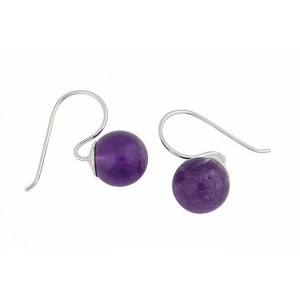 Amethyst Bead Small Drop Earrings