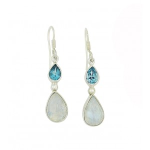 Blue Topaz and Moonstone Teardrop Earrings