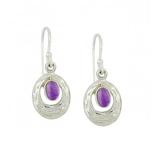 Etched Silver Amethyst Drop Earrings