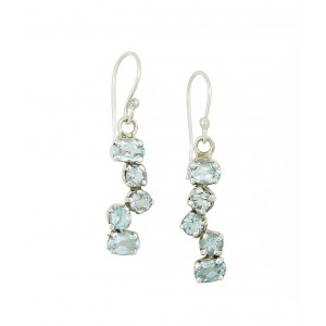 Blue Topaz Scatter Drop Earrings