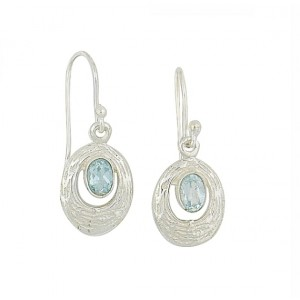 Etched Silver Blue Topaz Drop Earrings
