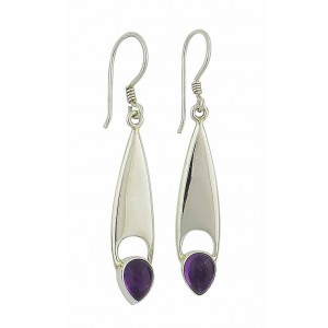 Elongated Teardrop Amethyst Drop Earrings