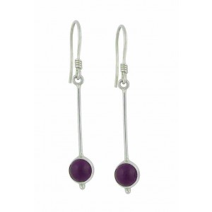 Silver Amethyst Long Drop Earrings