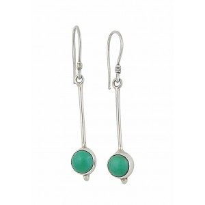 Silver Turquoise Long Drop Earrings
