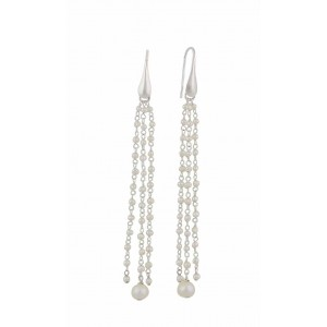 Freshwater Pearl Silver Link Chain Drop Earrings