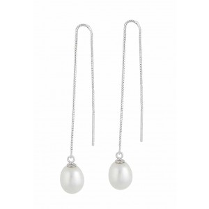 Freshwater Pearl Silver Threader Earrings