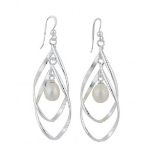 Dual Teardrop and Freshwater Pearl Silver Earrings