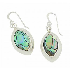 Shell Inlay Silver Drop Earrings
