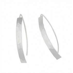 Textured Curve Bar Silver Earrings