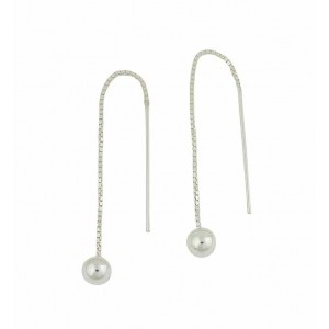 Silver Ball Threader Earrings
