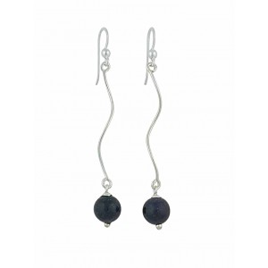 Black Onyx Wave Style Long Drop Earrings