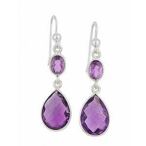 Oval and Teardrop Amethyst Silver Earrings