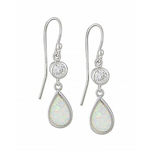 White Opal and Cubic Zirconia Teardrop Silver Earrings | The Opal