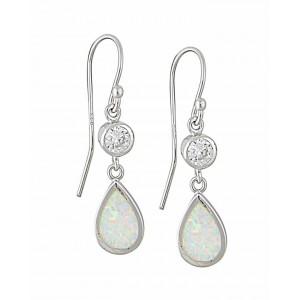 White Opal and Cubic Zirconia Teardrop Silver Earrings   The Opal