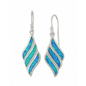 Fluid Diamond Design Blue Opal Drop Earrings | The Opal