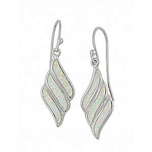 Fluid Diamond Design White Opal Drop Earrings | The Opal